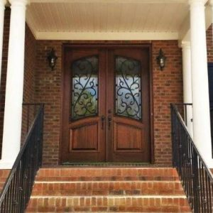 Wood Doors with Wrought Iron Houston